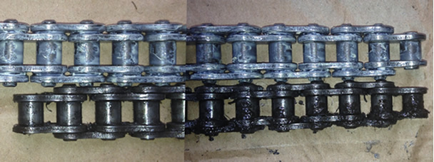 A stretched drive chain